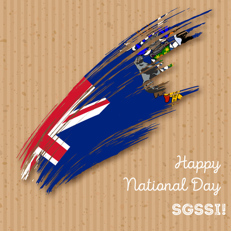 georgia: SGSSI Independence Day Patriotic Design. Expressive Brush Stroke in National Flag Colors on craft paper background. Happy Independence Day SGSSI Vector Greeting Card.