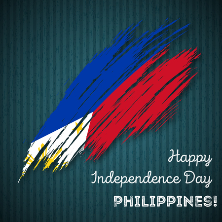 Philippines Independence Day Patriotic Design. Expressive Brush Stroke in National Flag Colors on dark striped background. Happy Independence Day Philippines Vector Greeting Card. Illustration