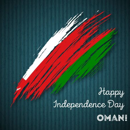 Oman Independence Day Patriotic Design. Expressive Brush Stroke in National Flag Colors on dark striped background. Happy Independence Day Oman Vector Greeting Card.