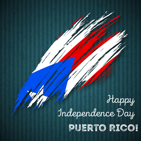 Puerto Rico Independence Day Patriotic Design. Expressive Brush Stroke in National Flag Colors on dark striped background. Happy Independence Day Puerto Rico Vector Greeting Card.