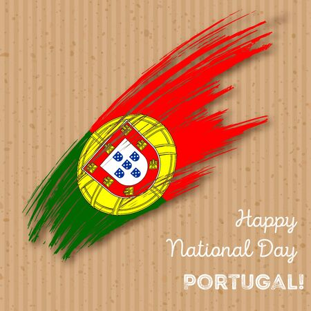 Portugal Independence Day Patriotic Design. Expressive Brush Stroke in National Flag Colors on kraft paper background. Happy Independence Day Portugal Vector Greeting Card. Illustration