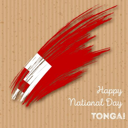 oceania: Tonga Independence Day Patriotic Design. Expressive Brush Stroke in National Flag Colors on kraft paper background. Happy Independence Day Tonga Vector Greeting Card. Illustration