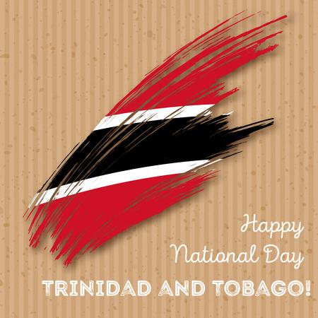 Trinidad and Tobago Independence Day Patriotic Design. Expressive Brush Stroke in National Flag Colors on kraft paper background. Happy Independence Day Trinidad and Tobago Vector Greeting Card. Illustration