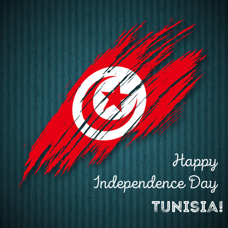 Tunisia Independence Day Patriotic Design. Expressive Brush Stroke in National Flag Colors on dark striped background. Happy Independence Day Tunisia Vector Greeting Card.