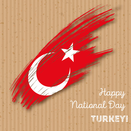 Turkey Independence Day Patriotic Design. Expressive Brush Stroke in National Flag Colors on kraft paper background. Happy Independence Day Turkey Vector Greeting Card.