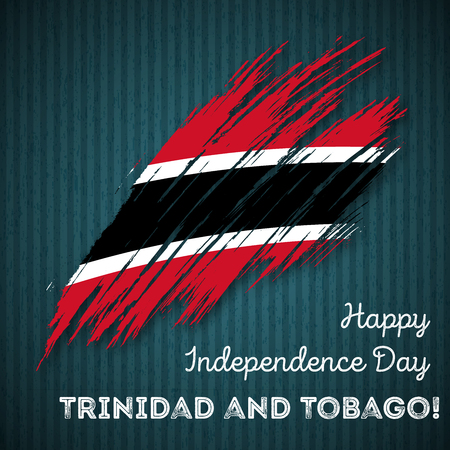 Trinidad and Tobago Independence Day Patriotic Design. Expressive Brush Stroke in National Flag Colors on dark striped background. Happy Independence Day Trinidad and Tobago Vector Greeting Card.