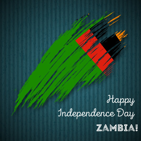 Zambia Independence Day Patriotic Design. Expressive Brush Stroke in National Flag Colors on dark striped background. Happy Independence Day Zambia Vector Greeting Card.