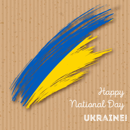 Ukraine Independence Day Patriotic Design. Expressive Brush Stroke in National Flag Colors on craft paper  background. Happy Independence Day Ukraine Vector Greeting Card.