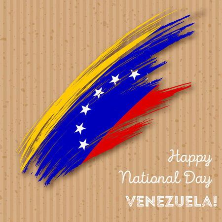 Venezuela Independence Day Patriotic Design. Expressive Brush Stroke in National Flag Colors on kraft paper background. Happy Independence Day Venezuela Vector Greeting Card. Vectores