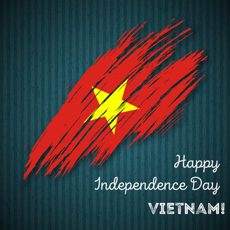 Vietnam Independence Day Patriotic Design. Expressive Brush Stroke in National Flag Colors on dark striped background. Happy Independence Day Vietnam Vector Greeting Card.