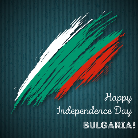 Bulgaria Independence Day Patriotic Design. Expressive Brush Stroke in National Flag Colors on dark striped background. Happy Independence Day Bulgaria Vector Greeting Card.