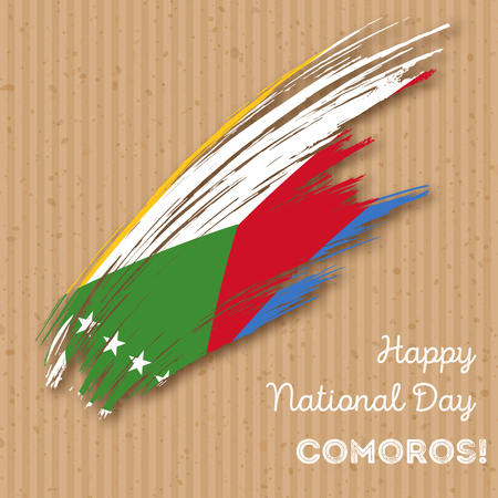 Comoros Independence Day Patriotic Design. Expressive Brush Stroke in National Flag Colors on craft paper  background. Happy Independence Day Comoros Vector Greeting Card.