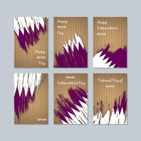 Qatar patriotic cards for national day. Иллюстрация