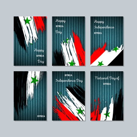 Syria patriotic cards for national day.