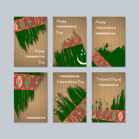 Turkmenistan patriotic cards for national day. Иллюстрация