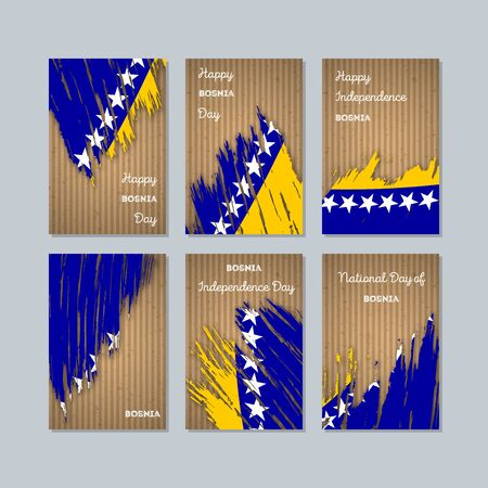 Expressive brush strokes of Bosnia Patriotic Cards for National Day.