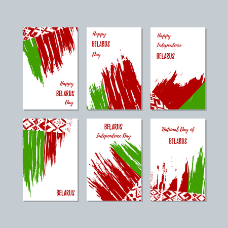 Expressive brush strokes of Belarus Patriotic Cards for National Day.