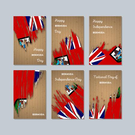 Expressive brush strokes of Bermuda Patriotic Cards for National Day.