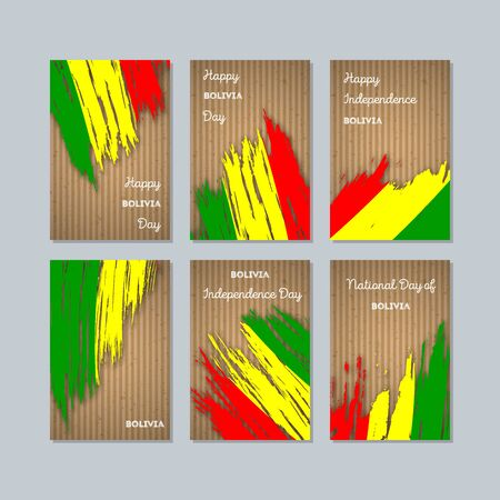 Expressive brush strokes of Bolivia Patriotic Cards for National Day.