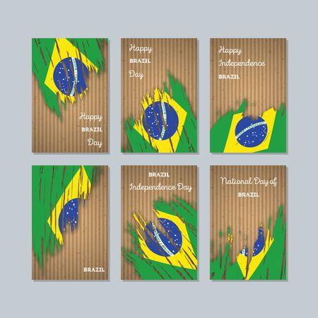 Expressive brush strokes of Brazil Patriotic Cards for National Day. Illustration