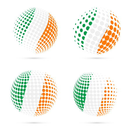 Ireland halftone flag set patriotic vector design. 3D halftone sphere in Ireland national flag colors isolated on white background. Illustration