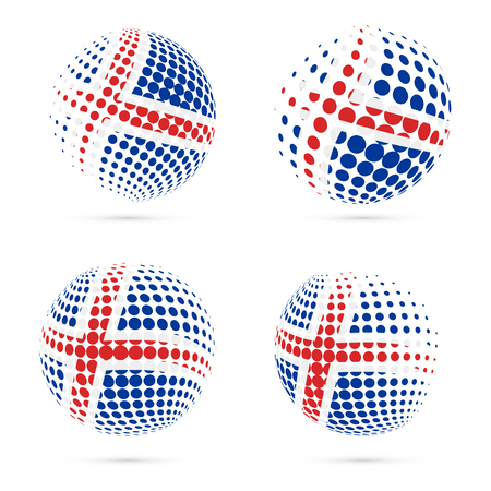 Iceland halftone flag set patriotic vector design. 3D halftone sphere in Iceland national flag colors isolated on white background.