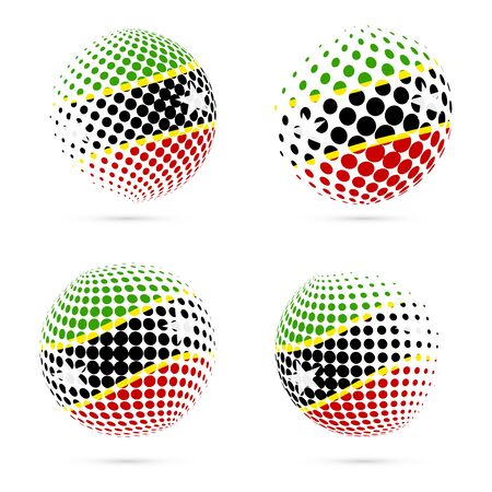 St. Kitts and Nevis halftone flag set patriotic vector design. 3D halftone sphere in St. Kitts and Nevis national flag colors isolated on white background.