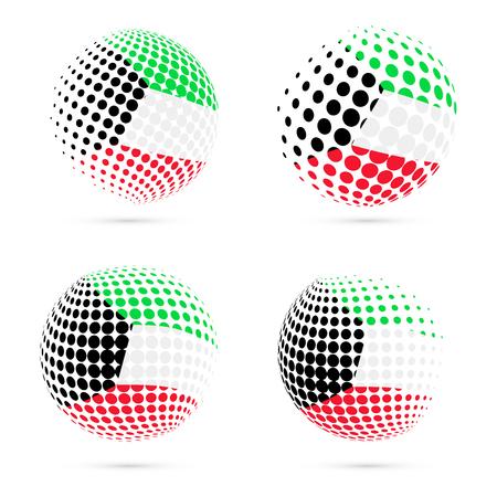 Kuwait halftone flag set patriotic vector design. 3D halftone sphere in Kuwait national flag colors isolated on white background. Illustration