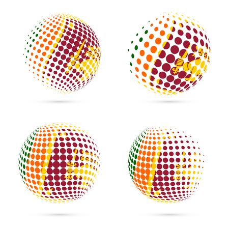 Sri Lanka halftone flag set patriotic vector design. 3D halftone sphere in Sri Lanka national flag colors isolated on white background. Illustration