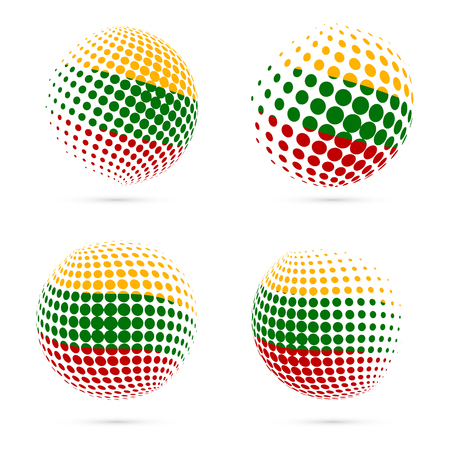 Lithuania halftone flag set patriotic vector design. 3D halftone sphere in Lithuania national flag colors isolated on white background.