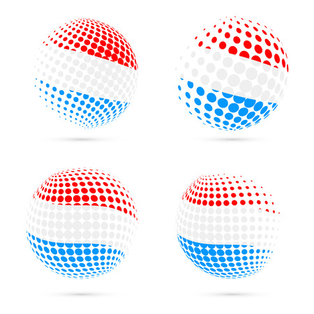 Luxembourg halftone flag set patriotic vector design. 3D halftone sphere in Luxembourg national flag colors isolated on white background.
