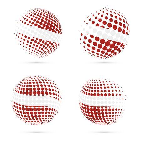 Latvia halftone flag set patriotic design. 向量圖像