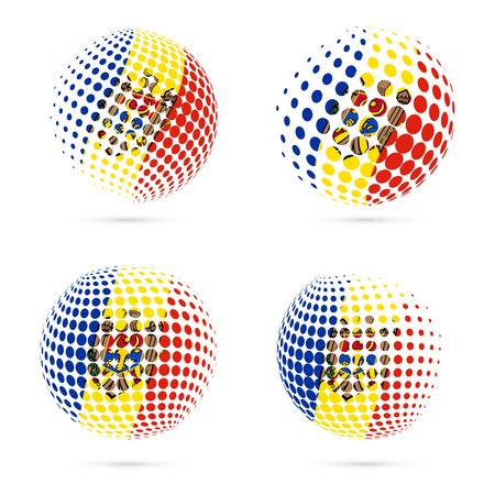 Moldova halftone flag set patriotic design.
