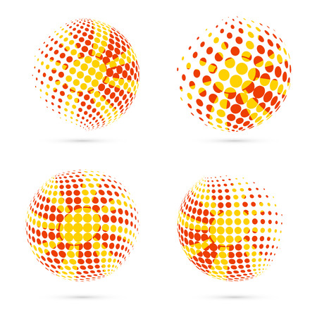 Macedonia halftone flag set patriotic vector design. 3D halftone sphere in Macedonia national flag colors isolated on white background.