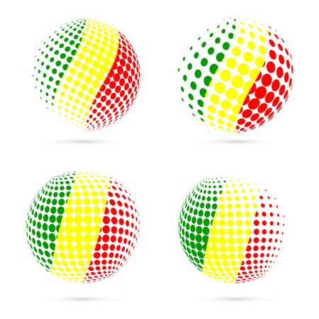 Mali halftone flag set patriotic vector design. 3D halftone sphere in Mali national flag colors isolated on white background.