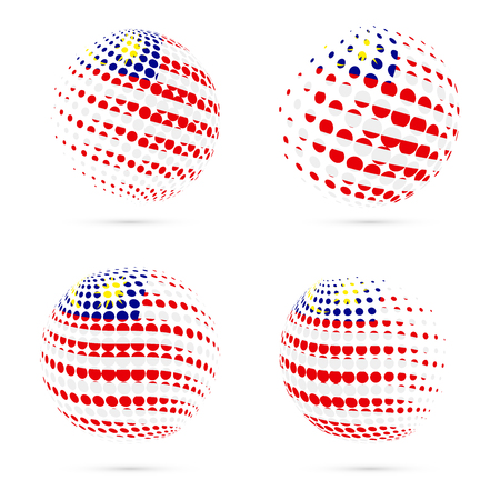 Malaysia halftone flag set patriotic vector design. 3D halftone sphere in Malaysia national flag colors isolated on white background.
