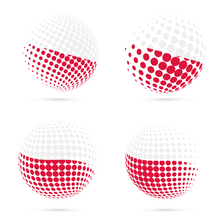 Poland halftone flag set patriotic vector design. 3D halftone sphere in Poland national flag colors isolated on white background.