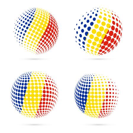 ルーマニア ハーフトーン フラグは、愛国的なベクター デザインを設定します。白い背景に分離されたルーマニア国旗色の 3 D のハーフトーン球。