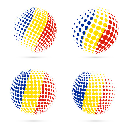 Romania halftone flag set patriotic vector design. 3D halftone sphere in Romania national flag colors isolated on white background. Иллюстрация