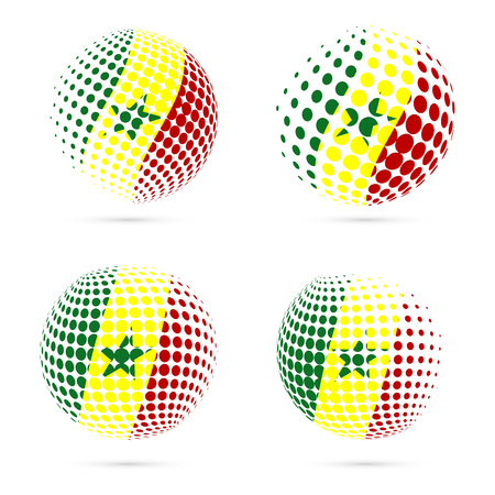 Senegal halftone flag set patriotic vector design. 3D halftone sphere in Senegal national flag colors isolated on white background. Illustration