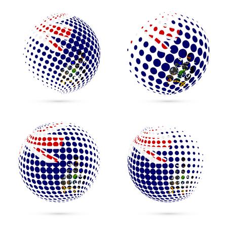 SGSSI halftone flag set patriotic vector design. 3D halftone sphere in SGSSI national flag colors isolated on white background.