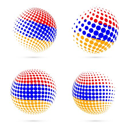 Armenia halftone flag set patriotic vector design. 3D halftone sphere in Armenia national flag colors isolated on white background. Illustration