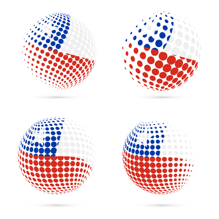 Chile halftone flag set patriotic vector design. 3D halftone sphere in Chile national flag colors isolated on white background.