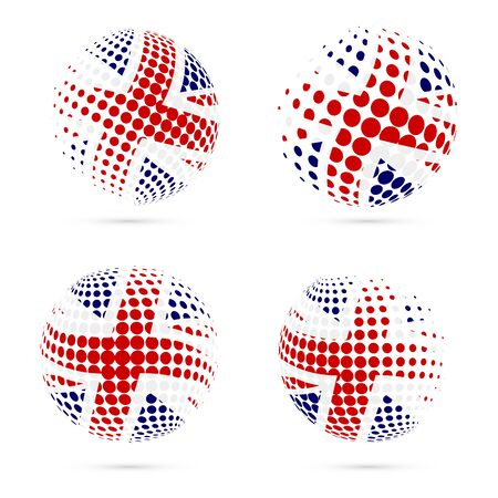 United Kingdom halftone flag set patriotic vector design. 3D halftone sphere in United Kingdom national flag colors isolated on white background.