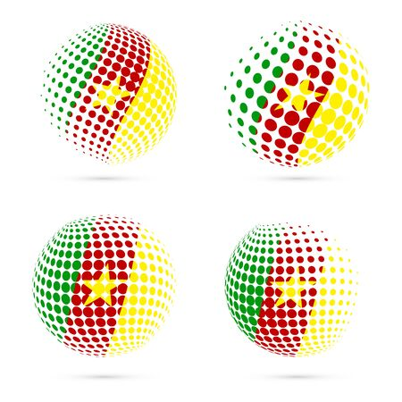 Cameroon halftone flag set patriotic vector design. 3D halftone sphere in Cameroon national flag colors isolated on white background. Illustration