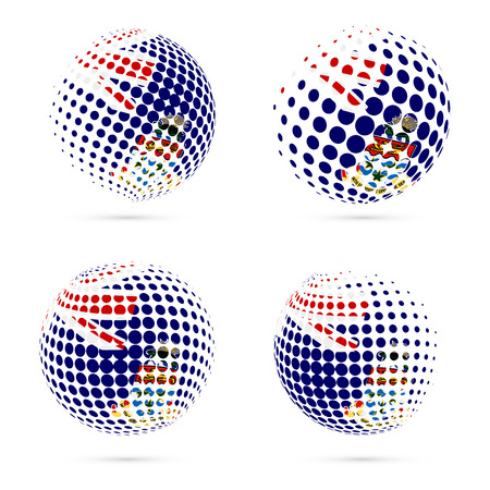 caribbean cruise: Cayman halftone flag set patriotic vector design. 3D halftone sphere in Cayman national flag colors isolated on white background.