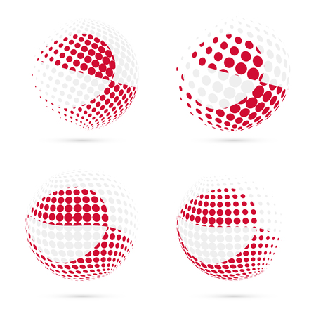 nuuk: Greenland halftone flag set patriotic vector design. 3D halftone sphere in Greenland national flag colors isolated on white background.