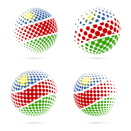 Namibia halftone flag set patriotic vector design. 3D halftone sphere in Namibia national flag colors isolated on white background.