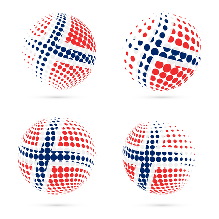 Norway halftone flag set patriotic vector design. 3D halftone sphere in Norway national flag colors isolated on white background.