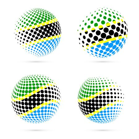 Tanzania halftone flag set patriotic vector design. 3D halftone sphere in Tanzania national flag colors isolated on white background. Illustration